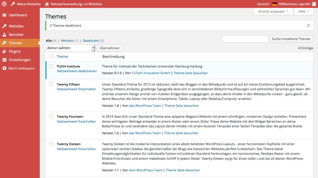 Bildschirmfoto Netzwerkverwaltung > Themes