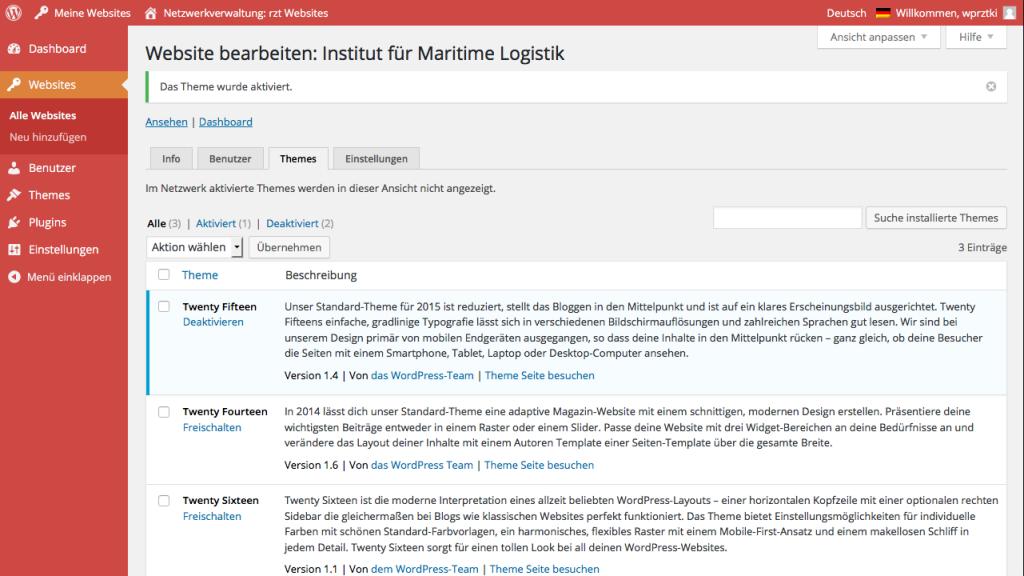 Bildschirmfoto Netzwerkverwaltung > Website Bearbeiten > Themes
