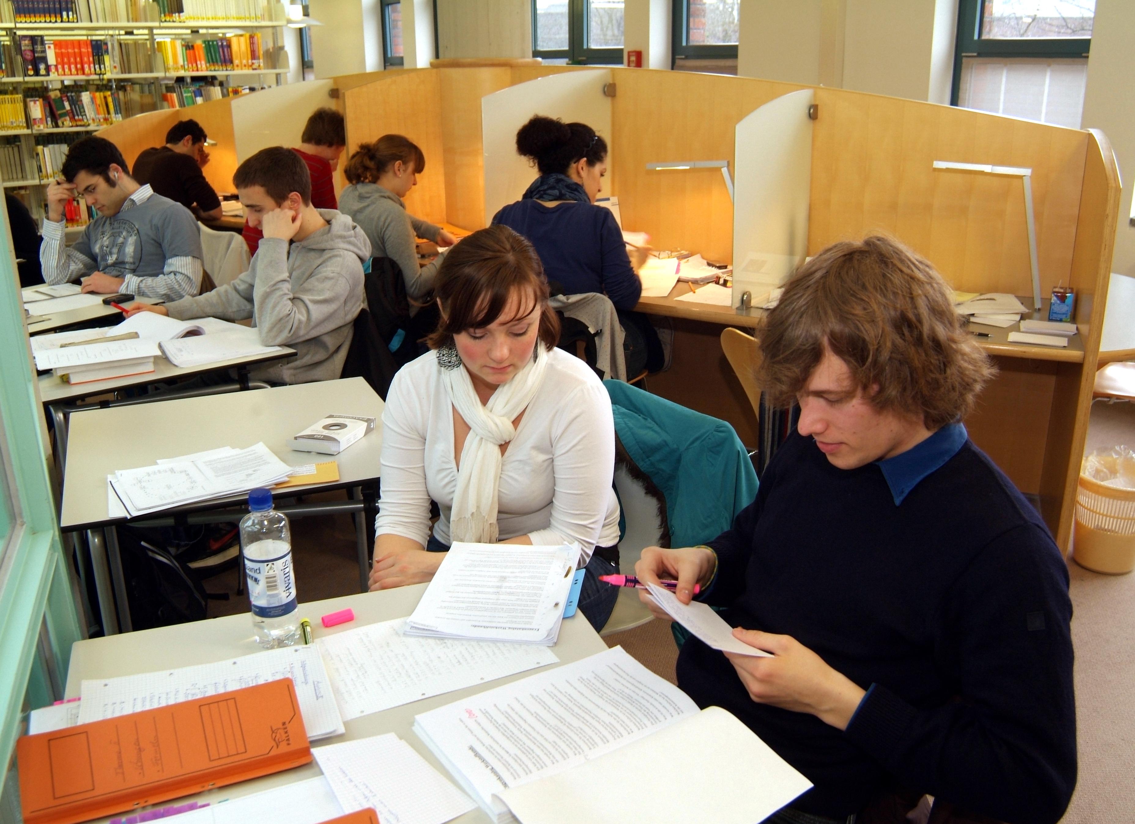 Studierende beim Lernen in der Bibliothek