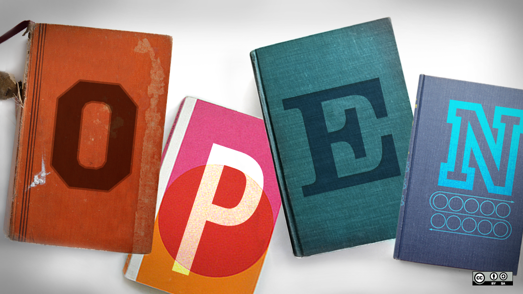 Vier Bücher mit jeweils einem Buchstaben auf dem Cover die zusammen das Wort OPEN ergeben