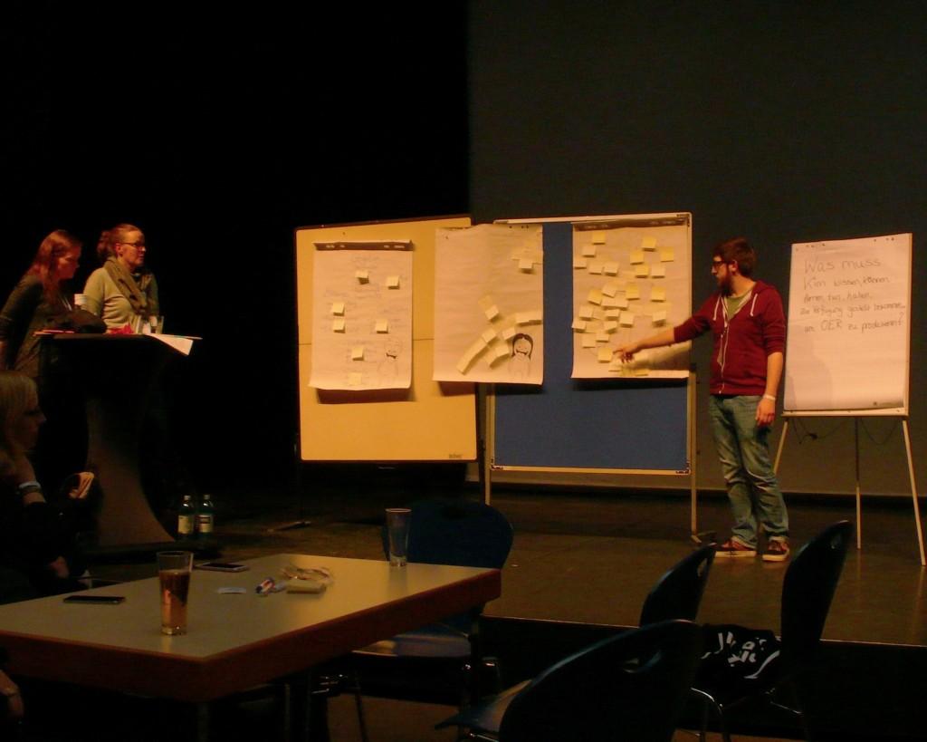 Blick auf eine Bühne, die von gelblichem Licht beleuchtet wird. Links im Bild zwei Frauen. In der Mitte stehen zwei Pinnwände mit mehrenen Post-Its drauf nebeneinander. Rechts davon ein Mann der mit dem Finger auf ein Post-It zeigt.