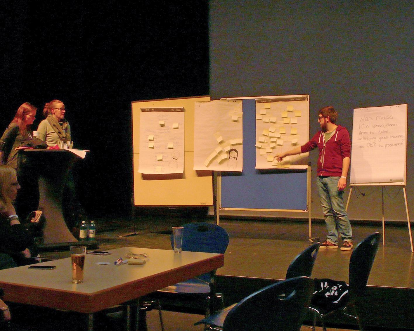 Blick auf eine Bühne, die von gelblichem Licht beleuchtet wird. Links im Bild zwei Frauen. In der Mitte stehen zwei Pinnwände mit mehreren Post-Its nebeneinander darauf. Rechts davon ein Mann der mit dem Finger auf ein Post-It zeigt.